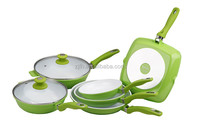 White korea ceramic coating cookware sets/easy clean flanging cooking fry pan sets