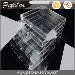 Trade Assurance storage clear box make up cosmetic organizer drawer acrylic jewelry display case