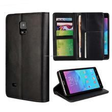 Black leather men phone case wallet flip phone cover case for samsung note 4