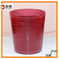 Red Garbage Can PU Leather For Indoor Use Without Cover