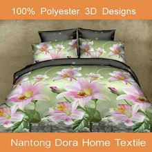 100% polyester flower bed sheeting sets, pink colorful polyester bed sheet set