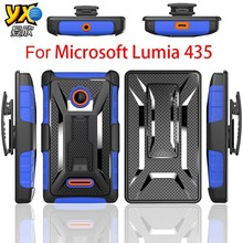2015 T Shape Kickstand Hybrid Combo Shockproof Mobile Phone Case For Microsoft Lumia 435 with Belt clip Holster