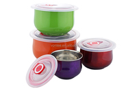 sealed round keep fresh metal stainless steel salad bowl with PP lid