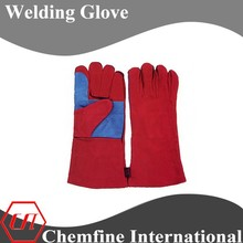 Red 14'' long sleeve cowhide select leather welding glove