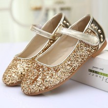 Retails or Wholesales Shiny Glitter Kids Girls Flat Shoes with Rivets