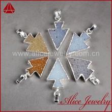 Fashionable arrowhead 925 sterling silver jewelry wholesale gemstone druzy drusy quartz crystal stone pendant charm necklace