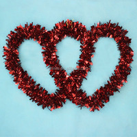 24 Inch PVC Pine Wreaths, Heart-Shaped Metal Rings, Garland Tinsel Machince
