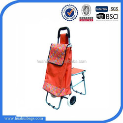Wholesale foldable trolley shopping bag with chair 2015