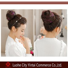 Highlights fashionable ladies fake hair bun up-doing accessories/synthetic curly chignon hairpieces factory wholesale price