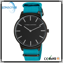 Custom dial fashion low moq wrist watch case with colorful face and pure color nylon strap