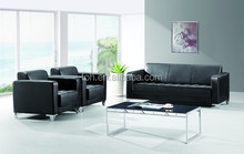 Office Sofa Black Genuine Leather Sofa Upholstered Sofa (FOH-8803)