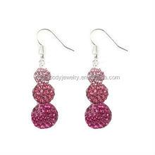ZhiRen 2015 high quality shamballa earrings 6 beads shinning earring fashion