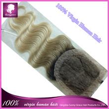 Ventas calientes! malasia seda Base Closure100 % virginal del pelo humano con el pelo del bebé nudos blanqueados barato de moda