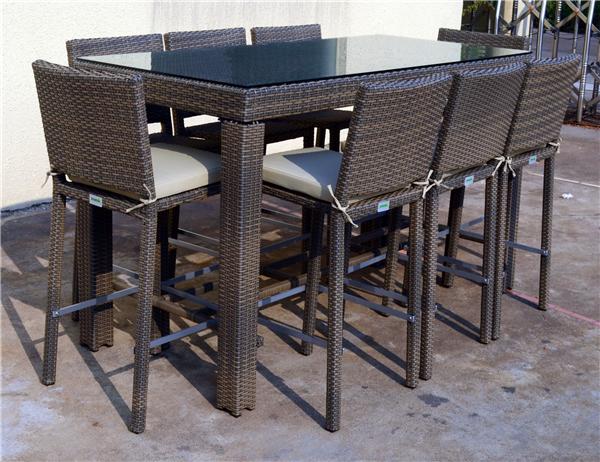2014 Nouveau Produit Myx 15066 Kd 9 Pcs Rotin Wicker Bar Table Haute Et Chaise Outils De Jardin