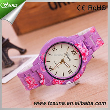 China Supplier Geneva Floral Watch Plastic Band Promotion Wrist Lady Watches