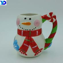 China handmade christmas snowman glaze ceramic coffee mug