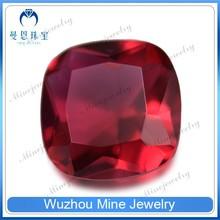machine cut ruby sapphire stone cushion square shape ruby