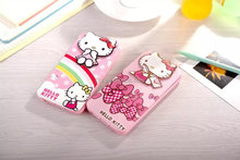 New design flip down leather case for iphone 6 with hello kitty pink color