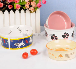 Customized decal your art working ceramic dog pet bowls wholesale