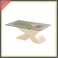 hot sale wooden conference cheap glass coffee table CT013