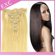 100% unprocessed virgin brazilian hair clip in hair extensions for black women