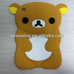 Brown 3D bear silicone case cover for mini ipad