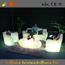 Modern led plastic sofas with RGB 16 colors, garden sofa, outdoor plastic sofa