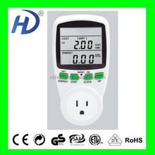 USA AMERICA PLUG DIGITAL DUAL TAFIFF ELECTRICA ENERGY METER THREE PHASE POWER METER SOCKET WITH BIG LCD WITH CE GS ITEM PM001-DU