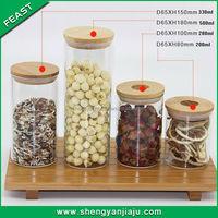 Square vintage large slant glass storage jar set