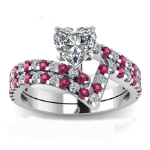 Big ruby paved curving band wedding ring with heart white sapphire cz in silver