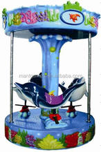 coin pusher 3 seats dolphin carousel kids coin operated game machine
