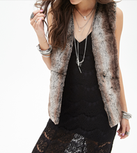 Stylish elegan reccoon fur vest for women faux fur