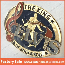 China Supplier wholesale Custom Elvis Presley The King of Rock and Roll Music Lapel Pin Badge