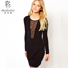 M3219 hot sales classical style black sexy bodycon lace dress women China supplier OEM