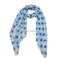 Five pointed star polyester scarf light blue clear scarf