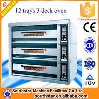 Electric/gas deck oven price/3 layer 12 trays bread deck oven /deck oven with steam
