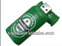 Durable green Beer bottles pvc USB flash drive