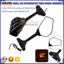 BJ-RM-066 Plastic Skull Hand Design Blinkers Motorcycle Mirror With LED Light For Yamaha R6