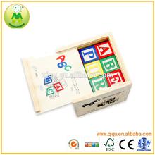 Cuadro de bloques de construcción 27 unids de educación temprana de madera bloques del ABC