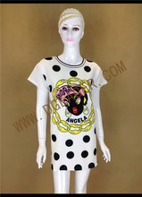 Original Design Ladies Polka Dot and Custom Printing Sexy Back Transparent Dress