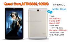 Impresión de la insignia libre carcasa de metal de 7 pulgadas pad IPS android4.4 tablet 3 g ranura sim woo tablet 7