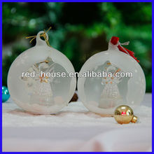 Amazing Star Open Christmas Ball frosted Glass with star angel inside