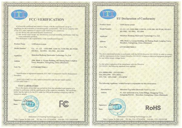 FCC RoHS -gsm alarm system