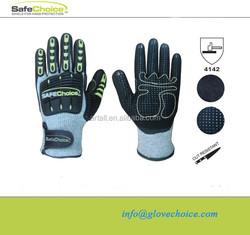Cut resistant TPR pad back PVC dots mechanic glove manufacturer