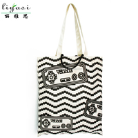 Full Over Printed Cotton Canvas Shopping Tote Bag,Hot Canvas Gift Bag Promotion,Wholesale Double Handle Canvas Shopping Handbag