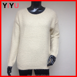 solid color flat knitting pattenr women pullover with shrug