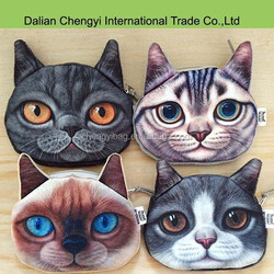 Promotional 3D cool printing stylish cat coin purse ,change purse