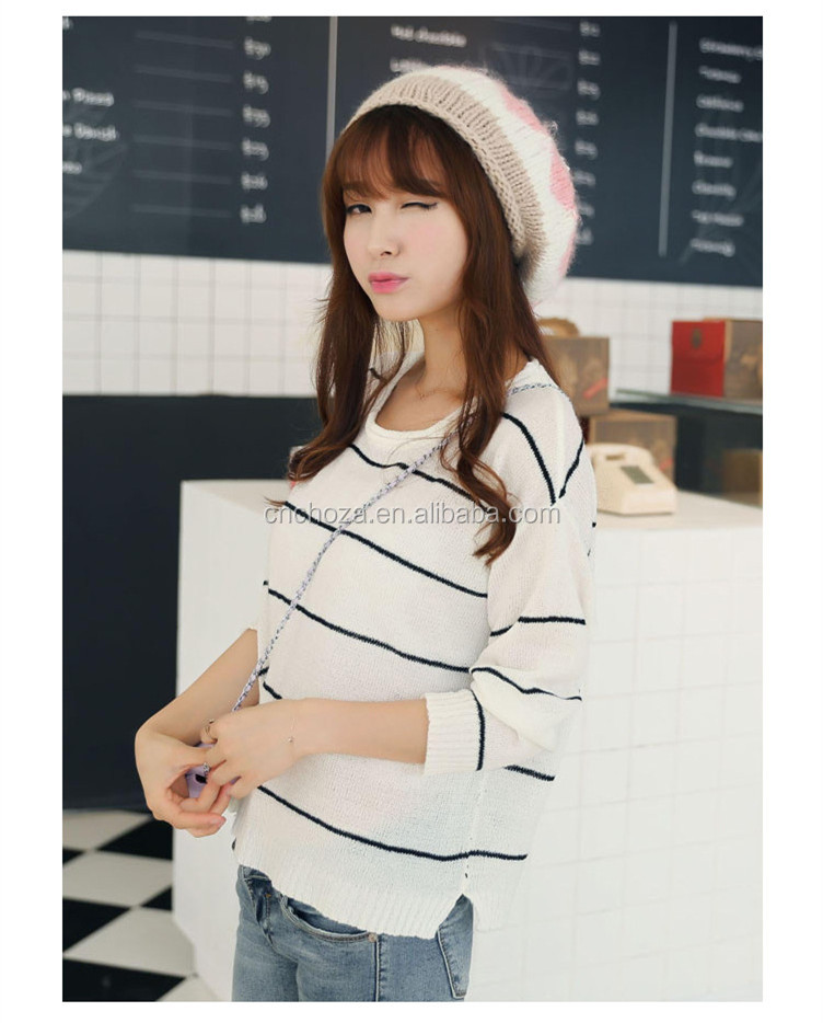 Z10624a Fashion Girl Unique Winter Hats Color Joining Big Ball Top Knitted Hat View Fashion