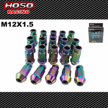 D1 Neo Chrome M12X1.5 Forged Aluminum L:52MM Wheel Lug Nuts