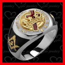 Gold plated custom made stainless steel masonic rings custom made in 2015